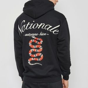 Topman Nationale Embroidered Snake Hoodie
